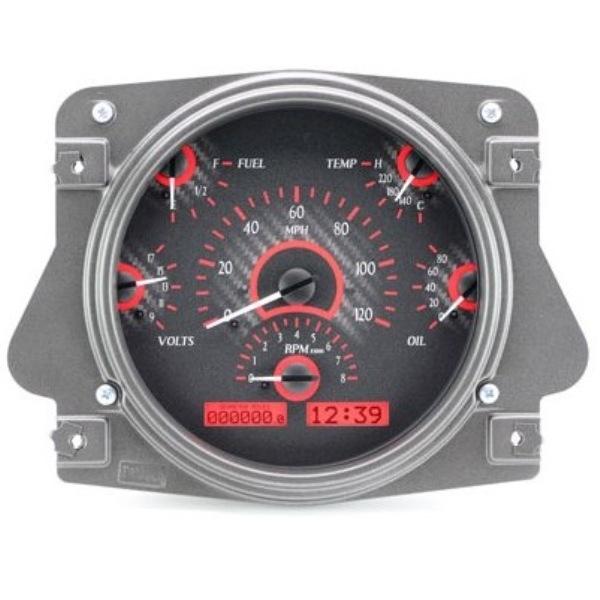 Dakota Digital Dash VHX Carbon Fiber Red 66-77 Bronco / 61-66 Pickup