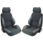 Procar Rally Seats PAIR Grey Vinyl / Grey Velour w/ Sliders