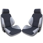 Procar Rally Seats PAIR Grey Vinyl / Black Velour w/ Sliders