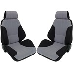 Procar Rally Seats PAIR Black Velour /Grey Velour w/ Sliders