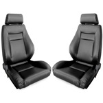 Procar Elite Seats PAIR Black Leather with Sliders