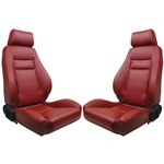 Procar Elite Seats PAIR Red Vinyl with Sliders