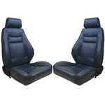 Procar Elite Seats PAIR Blue Vinyl with Sliders