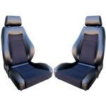 Procar Elite Seats PAIR Black Vinyl /Black Velour w/ Sliders