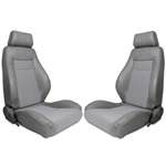 Procar Elite Seats PAIR Grey Vinyl / Grey Velour w/ Sliders