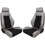 Procar Elite Seats PAIR Grey Vinyl / Black Velour w/ Sliders