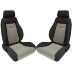 Procar Elite Seats PAIR Black Velour /Grey Velour w/ Sliders