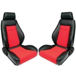 Procar Elite Seats PAIR Black Vinyl / Red Velour w/ Sliders