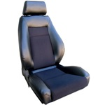 ProCar Elite Seat Black Vinyl / Black Velour w/ Sliders