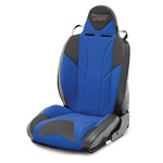 Mastercraft Baja RS DirtSport Seat w/ Adj Headrest Left Black with Black Center & Blue Side Panels