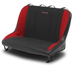 Mastercraft Rubicon Rear Bench Seat 36in 76-86 Jeep CJ Bolt-In - Black Vinyl & Black/Red Fabric