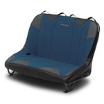 Mastercraft Rubicon DirtSport Bench Seat 36in 76-86 Jeep CJ Bolt-In - Black Vinyl & Blue Fabric