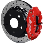 Wilwood Superlite 4R Big Brake Rear Parking Brake Kit 76-77 Bronco 18in Wheels Drilled Red