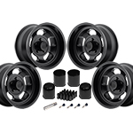 US Mags Indy Wheel Vintage Set of 4 Matte Black 17x9 Kit