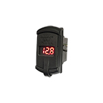 Double USB Charger Outlet with Voltmeter (Red)