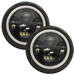 "WH Revolution 7"" LED Headlight Kit Black Finish White Halo Turn Signal/Running Light"
