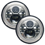 "WH Revolution 7"" LED Headlight Kit Chrome Finish White Halo Turn Signal/Running Light"