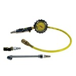 Power Tank Tire Inflator Gauge Universal - 160 PSI Dual Head &amp; Clip-On Chucks