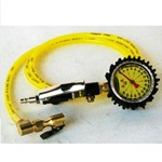 Power Tank Tire Inflator Gauge - HD 160 PSI 6 ft Whip - Clip-On Chuck